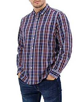 Denim/Navy Long Sleeve Check Shirt Long