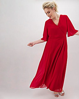 Dark Red Kimono Sleeve Maxi Dress