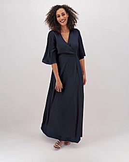Navy Kimono Sleeve Maxi Dress