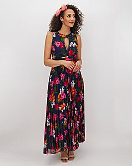 Navy Floral Pleat Maxi Dress