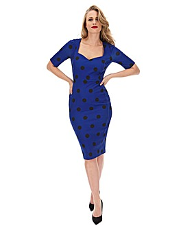 Blue Polka Dot Sweetheart Neck Bodycon Dress