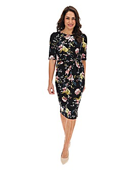 Black Floral Twist Knot Dress