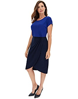 Navy/Blue Twist Cross Over Dress