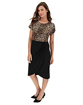 Leopard Print Twist Cross Over Dress