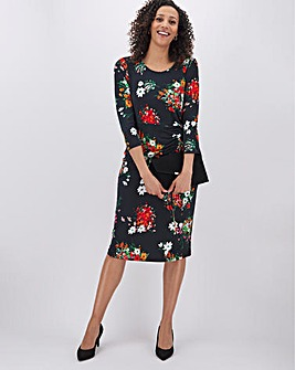 Black Floral Ruched Side Dress