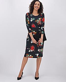 Black Floral Ruched Side Dress