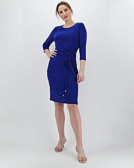Navy Ruched Side Dress