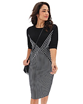 Stripe Detail Illusion Dress