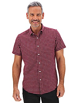 Red Check Stretch Oxford Shirt Long