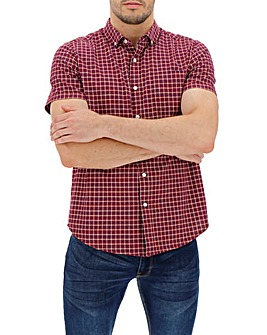 Red Check Short Sleeve Stretch Oxford Shirt Long