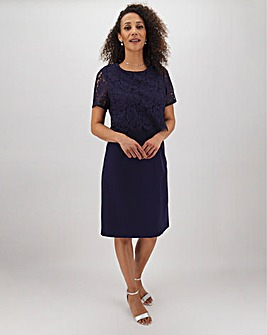 Navy Lace Detail Shift Dress