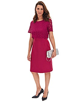 Raspberry Lace Detail Shift Dress