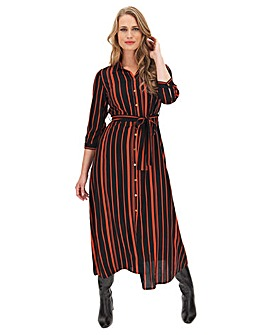 Black/Brown Stripe Maxi Shirt Dress