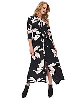 Mono Floral Maxi Shirt Dress