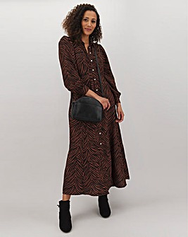 Animal Print Puff Sleeve Shirt Dress