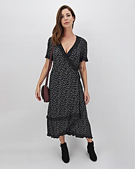 Mono Print Frill Detail Wrap Midi Dress