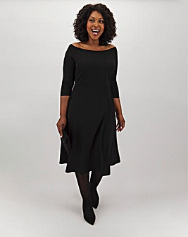 Black Bardot Skater Midi Dress