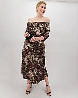 Leopard Print Wide Neck Midi Dress
