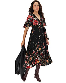 Ditsy Print Angel Sleeve Wrap Dress