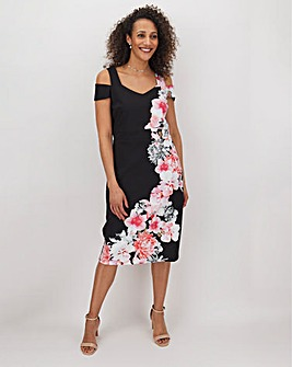 Mono Print Cold Shoulder Bardot Dress