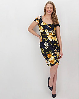 Navy Floral Cold Shoulder Bardot Dress