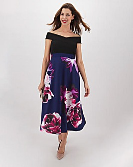 Purple Print Skirt Skater Dress