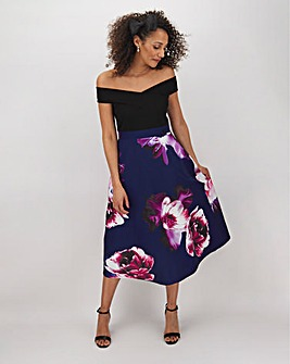 Purple Print Skirt Skater Dress
