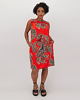 Paisley Crochet Trim Linen Shift Dress