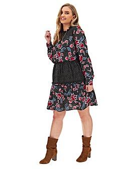 Mixed Print Tiered Smock Dress