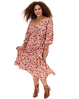 Pink Floral Wrap Midi Dress