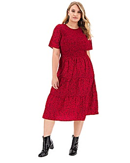 Ditsy Shirred Tiered Midi Dress