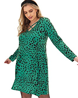 Green Print Swing Dress