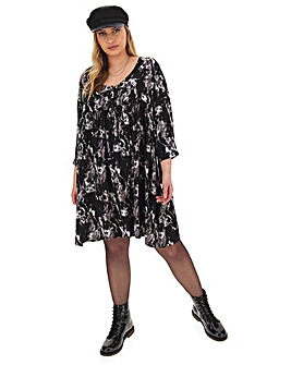 Marble Print Woven Smock Dress