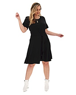 Black Twist Front Skater Dress