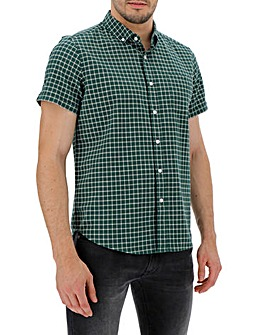 Green Check Short Sleeve Stretch Oxford Shirt Long
