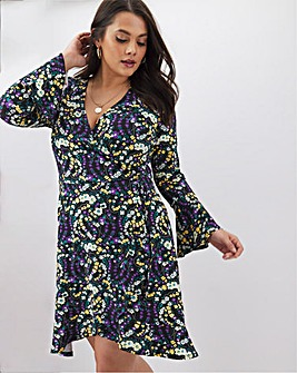 Floral Print Fluted Sleeve Wrap Dress