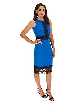 Cobalt Scuba Lace Panel Bodycon Dress