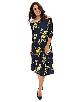 Navy Floral Bardot Skater Midi Dress