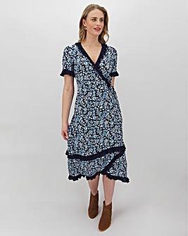 Blue Floral Frill Detail Wrap Midi Dress