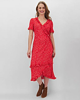 Red Print Frill Detail Wrap Midi Dress