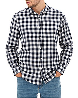 Navy Buffalo Check Shirt Long
