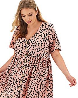 Peach Dalmatian Print Smock Dress