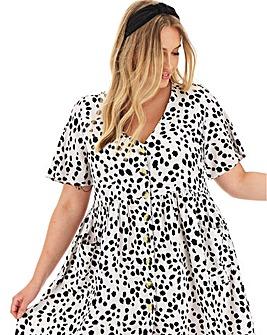 White Dalmatian Print Smock Dress