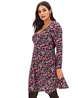 Pink Print O Ring Skater Dress
