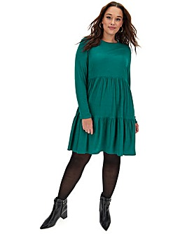 Green Tiered Jersey Smock Dress