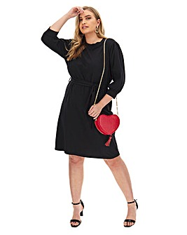 Black Belted T-Shirt Dress