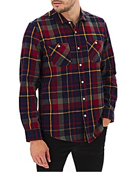 Multi Check Double Pocket Overshirt Long