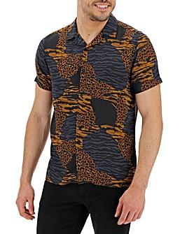 Animal Print Short Sleeve Revere Collar Shirt Long