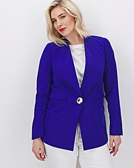 Cobalt Collarless Statement Blazer
