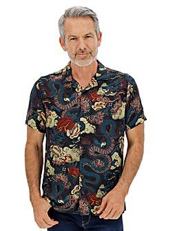Oriental Print Revere Collar Shirt Long